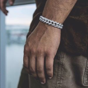 New 18K Miami Cuban Iced Out White Gold Bracelet